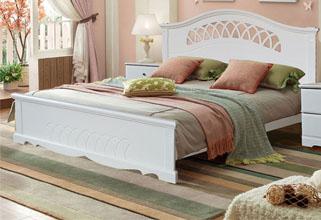 木巴家具:白色公主雕花实木床