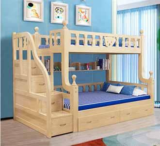 实木子母床梯柜储物床多功能组合上下床小熊儿童床环保双层高低床