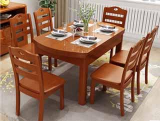 实木餐桌椅组合 小户型餐厅饭桌方桌圆桌简约现代可折叠伸缩餐桌